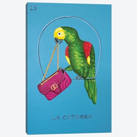 The Parrot with Gucci Bag Canvas Print #CCG16} by CeCe Guidi Canvas Artwork