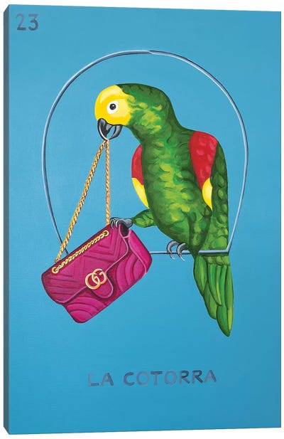 The Parrot with Gucci Bag Canvas Art Print