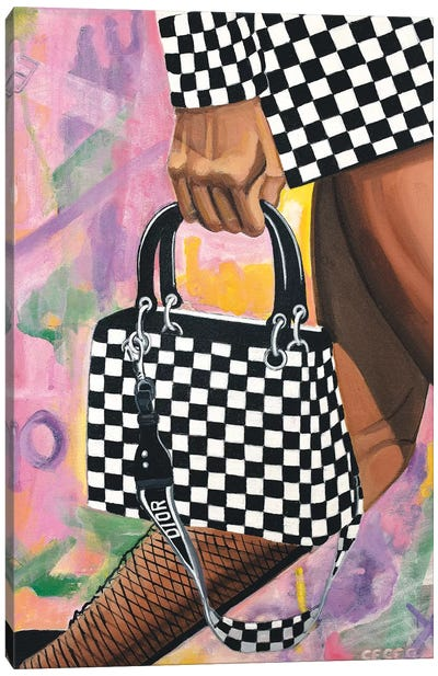 Checkered Lady Dior Bag Canvas Art Print