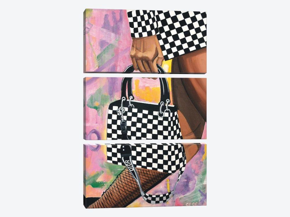 Checkered Lady Dior Bag by CeCe Guidi 3-piece Canvas Art
