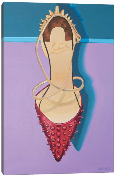 Christian Louboutin Red Spike Heel Canvas Art Print