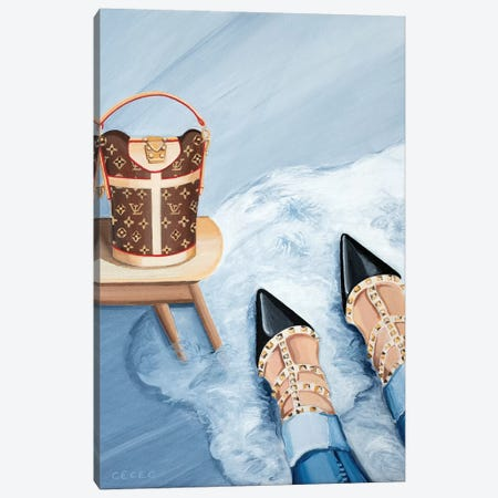 Louis Vuitton Monogram Bag & Valentino Heels Canvas Print #CCG25} by CeCe Guidi Canvas Art Print