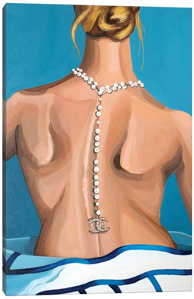 Woman Wearing Chanel Logo Pearl Necklace Canvas Art Print