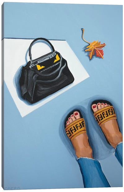 Fendi Peekaboo Bag and Logo Slides Canvas Art Print