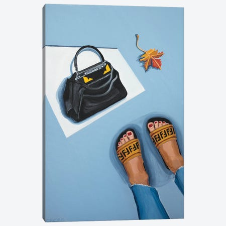 Fendi Peekaboo Bag and Logo Slides Canvas Print #CCG2} by CeCe Guidi Canvas Art Print