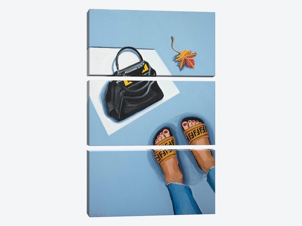 Fendi Peekaboo Bag and Logo Slides by CeCe Guidi 3-piece Canvas Artwork