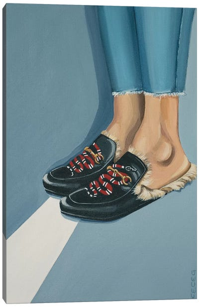 Gucci Snake Loafers On The Street Canvas Art Print