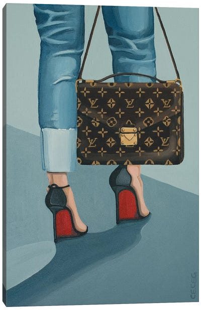Louis Vuitton Bag And Louboutin Heels Canvas Art Print