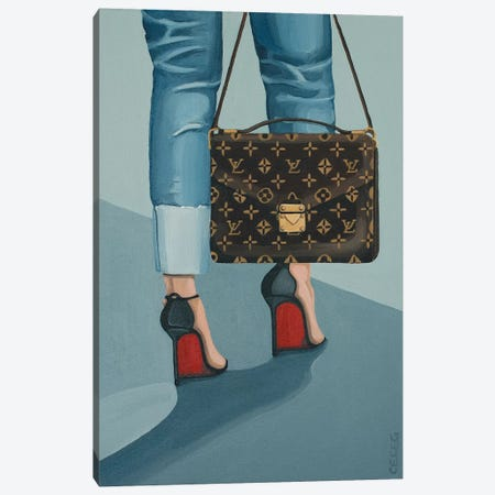 Louis Vuitton Bag And Louboutin Heels Canvas Print #CCG31} by CeCe Guidi Canvas Art Print