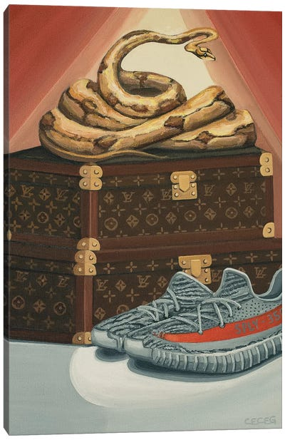 Python Snake On Louis Vuitton Trunks And Yeezys Canvas Art Print