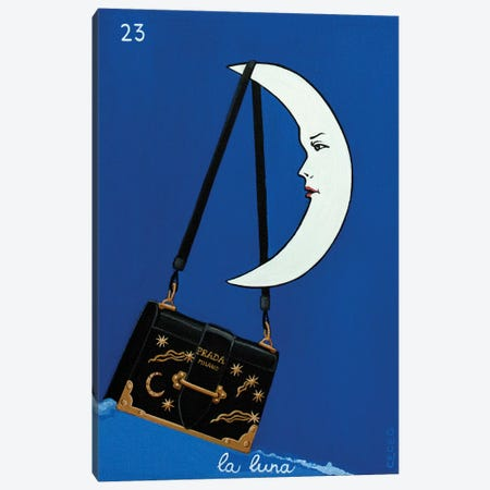 The Moon With Prada Bag Canvas Print #CCG34} by CeCe Guidi Canvas Artwork