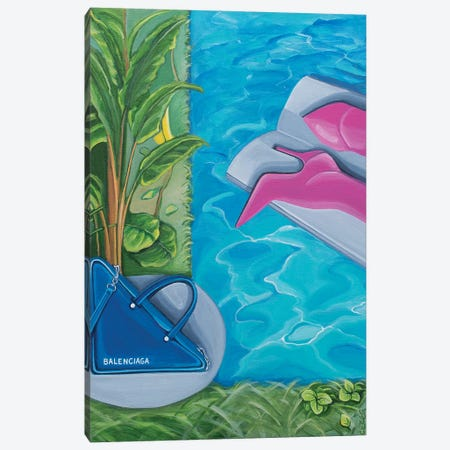 Balenciaga Bag & Boots Around The Swimming Pool Canvas Print #CCG35} by CeCe Guidi Canvas Wall Art