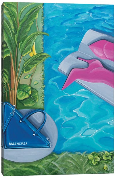 Balenciaga Bag & Boots Around The Swimming Pool Canvas Art Print