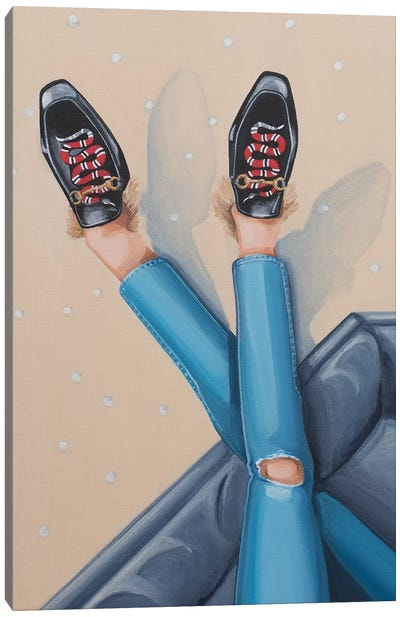 Gucci Snake Loafers On Sofa Canvas Art Print