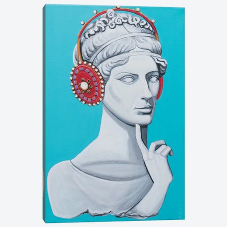 Greco Roman Head With Headphones Canvas Print #CCG38} by CeCe Guidi Canvas Print