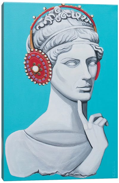 Greco Roman Head With Headphones Canvas Art Print