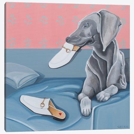 Dog & Gucci Slippers Canvas Print #CCG39} by CeCe Guidi Canvas Print