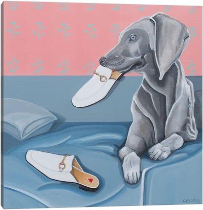 Dog & Gucci Slippers Canvas Art Print
