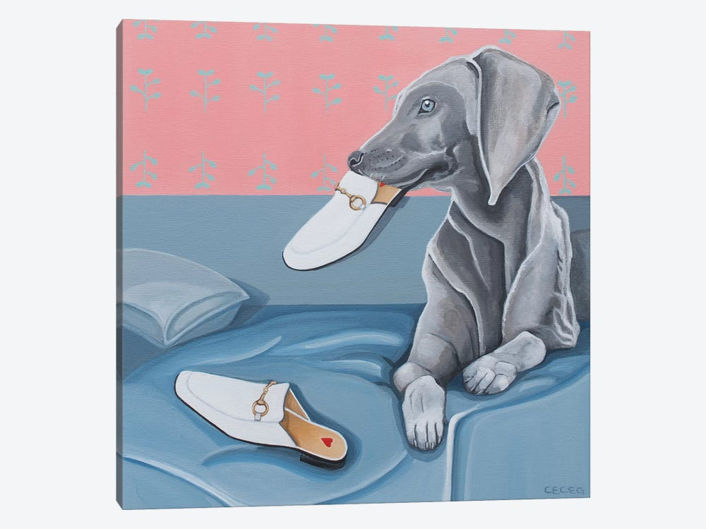 Dog & Gucci Slippers by CeCe Guidi 1-piece Canvas Artwork