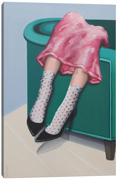Girl Wearing Polka Dot Socks & Black Heeels Canvas Art Print