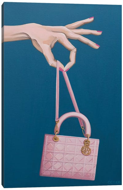 Hand Holding A Dior Bag Canvas Art Print