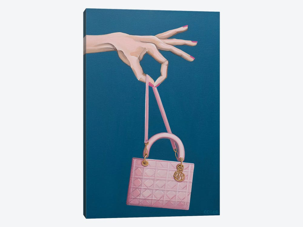 Hand Holding A Dior Bag by CeCe Guidi 1-piece Canvas Wall Art