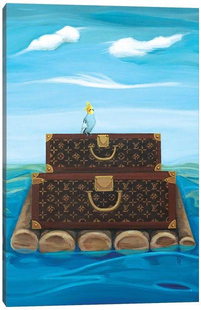Louis Vuitton Trunks Floating On A Raft Canvas Art Print