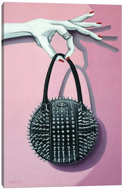 Hand Holding A Gucci Studded Bag Canvas Art Print
