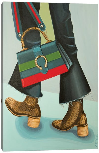 Gucci Dionysus Bag and Fendi Logo Boots Canvas Art Print
