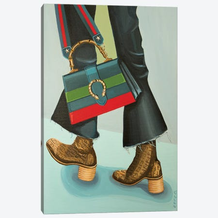 Gucci Dionysus Bag and Fendi Logo Boots Canvas Print #CCG4} by CeCe Guidi Canvas Wall Art
