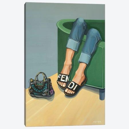 Girl Wearing Fendi Slides Canvas Print #CCG50} by CeCe Guidi Art Print