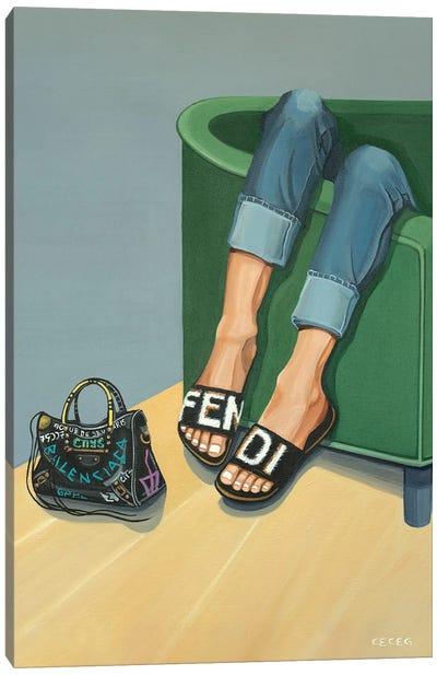 Girl Wearing Fendi Slides Canvas Art Print