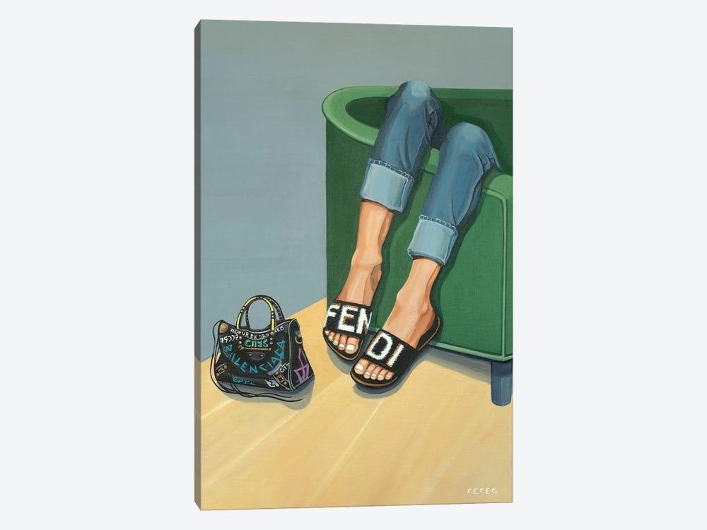 Girl Wearing Fendi Slides by CeCe Guidi 1-piece Canvas Print