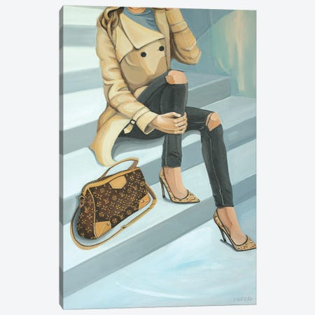 Woman Sitting On Stairs With Louis Vuitton Bag Canvas Print #CCG52} by CeCe Guidi Canvas Print