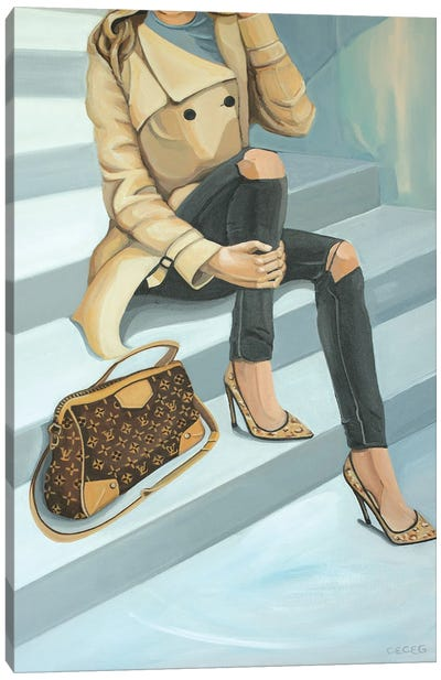 Woman Sitting On Stairs With Louis Vuitton Bag Canvas Art Print