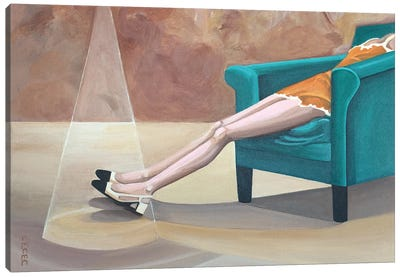 Reclining Woman Wearing Chanel Shoes Canvas Art Print