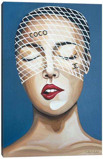 Girl With Coco Chanel Headpiece Canvas Art Print
