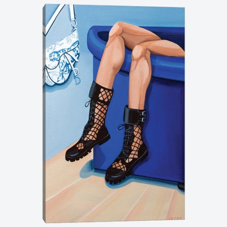 Girl Wearing Dior Fishnet Boots Canvas Print #CCG65} by CeCe Guidi Art Print