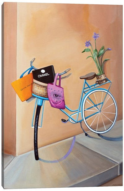 Bicycle With Shopping Bags Canvas Art Print