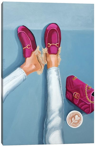 Gucci Velvet Loafers and Bag Canvas Art Print