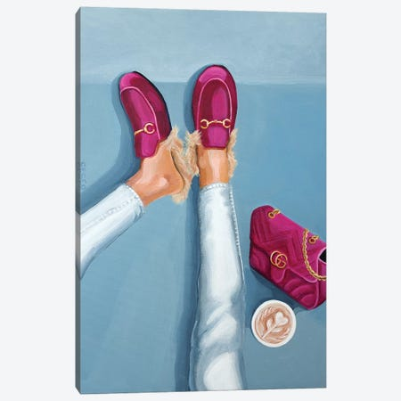 Gucci Velvet Loafers and Bag Canvas Print #CCG7} by CeCe Guidi Canvas Artwork