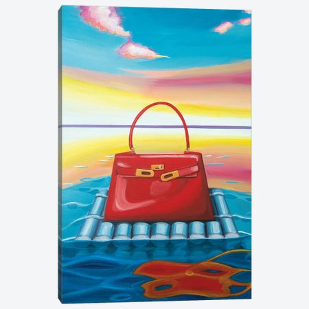 Kelly Floating on a Raft Canvas Print #CCG9} by CeCe Guidi Art Print