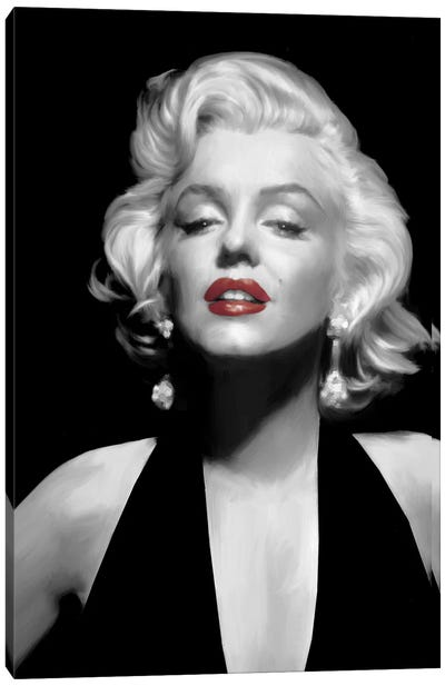 Halter Top Marilyn Red Lips Canvas Art Print