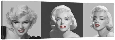 Marilyn Trio Red Lips, Blue Eyes Canvas Art Print