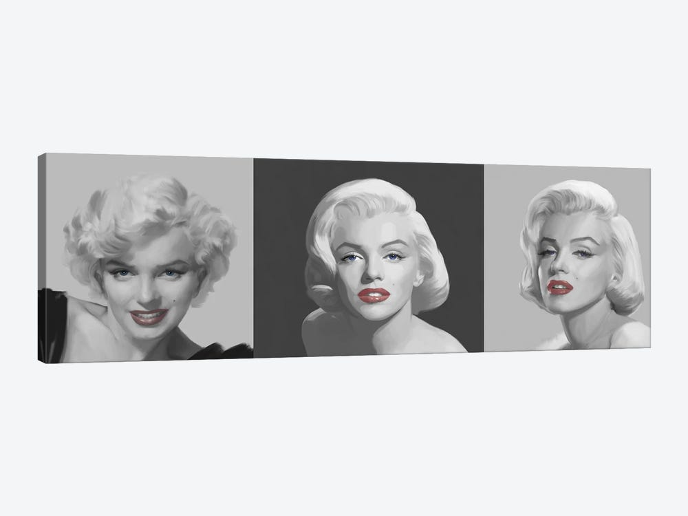 Marilyn Trio Red Lips, Blue Eyes by Chris Consani 1-piece Canvas Artwork