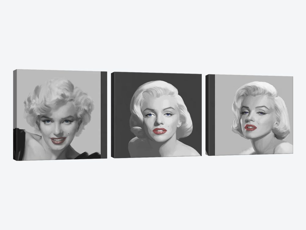 Marilyn Trio Red Lips, Blue Eyes by Chris Consani 3-piece Canvas Wall Art
