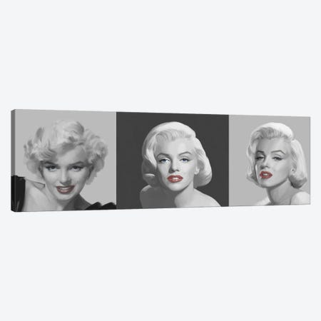 Marilyn Trio Red Lips, Blue Eyes 3-Piece Canvas #CCI52} by Chris Consani Art Print
