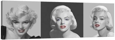 Marilyn Trio Red Lips, Blue Eyes Canvas Art Print