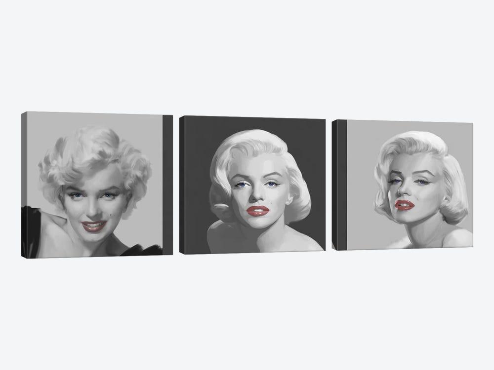 Marilyn Trio Red Lips, Blue Eyes by Chris Consani 3-piece Canvas Wall Art