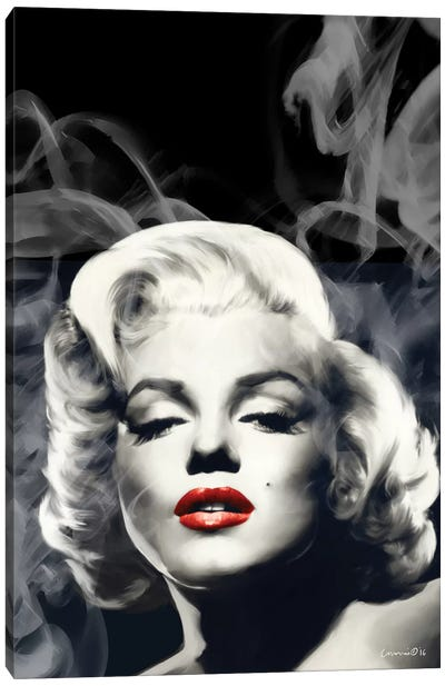 Red Lips Marilyn In Smoke Canvas Art Print